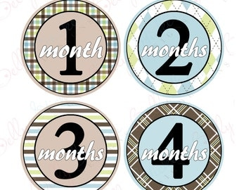 Boy Monthly Baby Stickers, 1 to 12 Months, Monthly Bodysuit Stickers, Baby Age Stickers, Preppy (073-3)