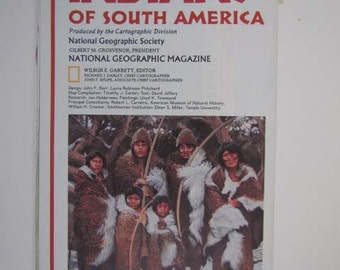 Vintage Historical Map National Geographic Indians of South America 1982