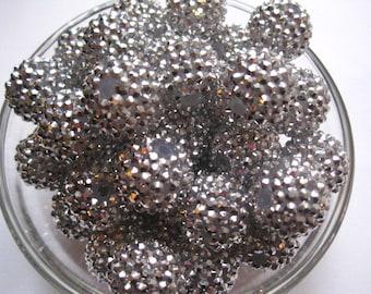 Silver Rhinestone Bead, 10 pcs, 20mm Bumpy Bead, Disco Ball Bead, Gumball Beads, Bubblegum Bead, Acrylic Bead, Chunky Beads, Necklace Bead,