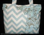 Chevron Tote Bag - Purse - Village Blue Chevron - Handmade - Shoulder Bag