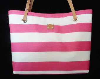Pink - Stripe - Bag - Purse - Nautical - Leather handles - Canvas - Handmade - Handbag - Shoulder bag