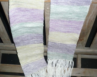 Handwoven white and pastels scarf / muffler