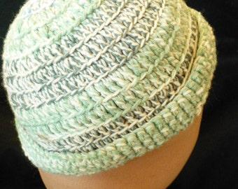 Aqua and blue tweedy cap