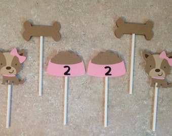 Puppy/bone/dish Cupcake Toppers