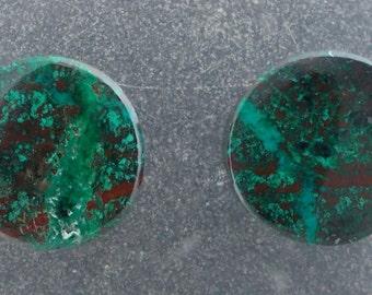 "Malachite Chrysocolla 3/8"", 00g ear plugs one pair"