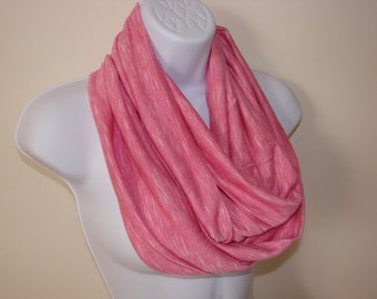 sale Pink White Infinity Scarf Jersey Knit Light Weight Eternity Scarf Cowl, Circle Loop Scarf, Fal Winter 2014 Woman Fashion Accessories