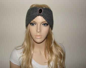 Gray Boho Knit Headband, Bohemian Turban Knit Headband, Indie Beaded Turban Head Wrap, Head Wrap, Fall Winter Woman Fashion Accessories