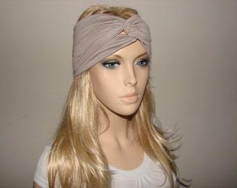 Taupe Turban Headband jersey knit, Yoga Headband, Brown Fitness hair band, Woman boho workout head wrap, hippie head wrap, head scarf