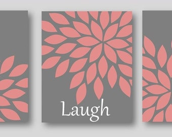 LIMITED time CLEARANCE SALE on this one - Live Laugh Love set of 3 art prints pink gray decor baby girl wall art Available in Multiple Sizes