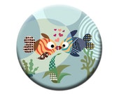 Fridge Magnet Love Fish,  Gift Idea, 2. 25 inches diameter and 0.25 inches thick