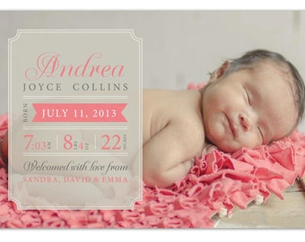 Girl Birth Announcement with Photo