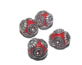 4 - 16mm beautiful red hand made indonesian beads (053)