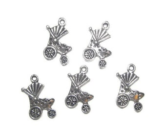 Baby Carriage Charms- 5 pieces - Tibetan Silver  -  approximately 10x17mm (040)