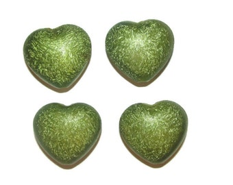 10  - Acrylic Green Stardust  Heart Pendant Beads 30x30mm (027)