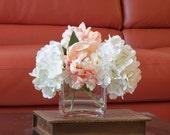 Hydrangea Peach Peony Arrangement Silk Flowers Artificial Faux in Square Glass Vase