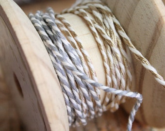 Baker's Twine Ribbon, Twine Ribbon, Gold, Silver, By the Metre, 3mm