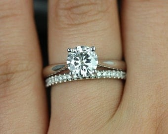 Flora 7mm & Kierra 14kt White Gold FB Moissanite and Diamond Cathedral Solitaire Wedding Set  (Other metals and stone options available)
