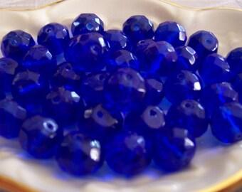 Beader's COBALT Blue 10mm Czech FACETED RONDELL Glass Beads