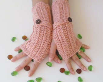 Salmon Fingerless Gloves With Wooden Buttons,Crochet Pattern, Hand Arm Warmers,Winter Accessories, Fall Fashion,Mittens