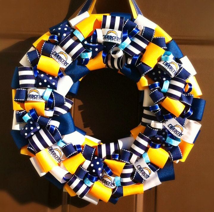 San Diego Chargers Front Office: Chargers Ribbon Wreath San Diego NFL Football By WeHaveWreaths