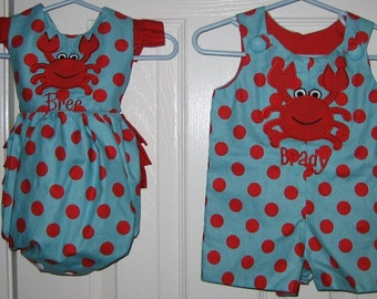 Twin aqua and red polka dot crab outfits- Jon Jon and ruffle butt romper
