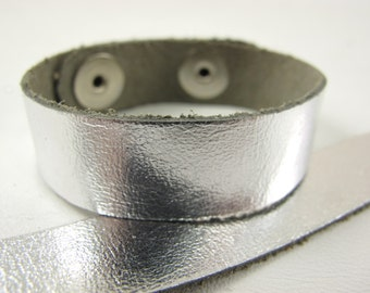 "Metallic Silver Leather Cuff Bracelet 5/8"" Wide, #50-85831007"