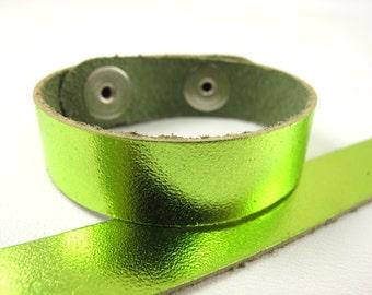 "Metallic Lime Leather Cuff Bracelet 5/8"" Wide, #50-85831013"