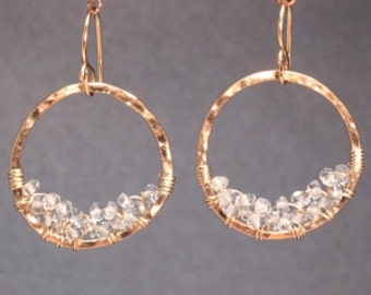 Hammered hoops with aquamarine Luxe Bijoux 196