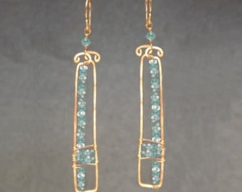 Hammered rectangle drop earrings Apatite Bohemian 105