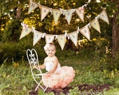 Shabby Chic Burlap Happy Birthday Banner (similar colors and fabrics, but not always exact) name banner sold separately