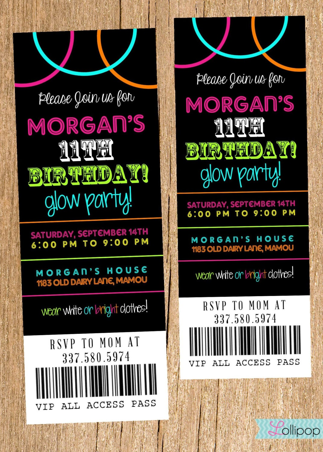 Neon Glow Party Invitation DIY Printable Ticket by LollipopInk