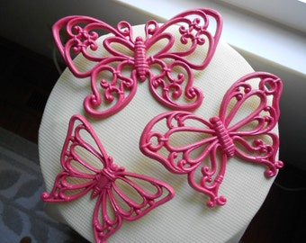 Three Vintage Homco Butterflies ornate hot pink wall plaques, upcycled