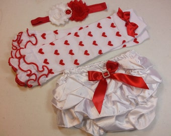 Baby VALENTINES DAY OUTFIT, Heart Leg Warmers, Red flower Headband, White Ruffle Bloomers, Girls Diaper Cover Set, Red Heart Leggings