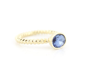 Simple Bright Gold-tone Faceted Blue Stone Ring,Size selectable,C4