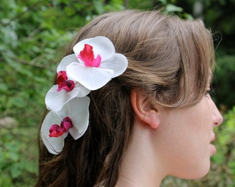 CLEARANCE - ONE Orchid Bridal Hair Clip, White and Fucshia Orchids, Bride Flowers Hair Clip, Wedding Accessory, Bride Hair Piece