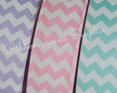 "7/8"" Ribbon by the Yard-Chevron Grosgrain-Lavender, Pink, Aqua-Hair Bows Sewing Wholesale by Ribbon Lane Supplies on Etsy"