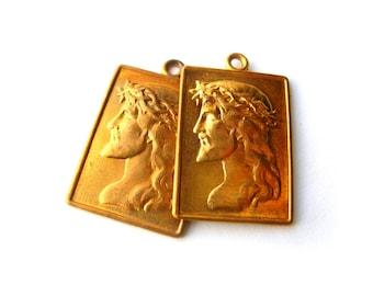 Jesus Charms - Solid Brass - Brass Jesus Pendants - Religious Charms - Religious Pendants