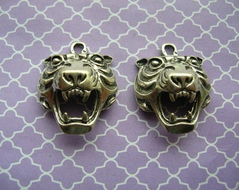 Tiger Charms - Tiger Pendants - Jewelry Findings - Cat Charms