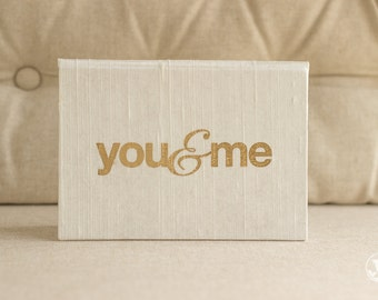 Vow Book - Wedding Vow Keepsake Gift - You and Me Gold Foil Silk Folio Keepsake - Vow Holder™ - Wedding gift