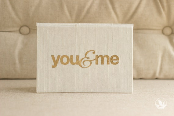 Vow Book - Wedding Vow Keepsake Gift - You and Me Gold Foil Silk Folio Keepsake - Vow Holder™ - Wedding gift