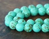 Magnesite Beads, Light Teal Green, 10mm Round - 15 inch Strand - eGR-MG001-10