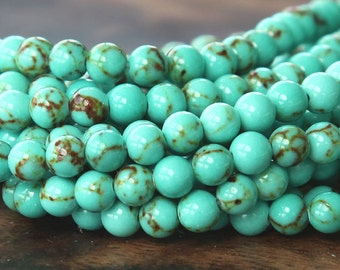 Magnesite Beads, Light Teal Green, 4mm Round - 15.5 inch Strand - eGR-MG001-4