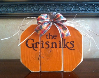 Personalized Wood Fall Pumpkin - Seasonal Home Decor for fall, halloween, and thanksgiving decorating