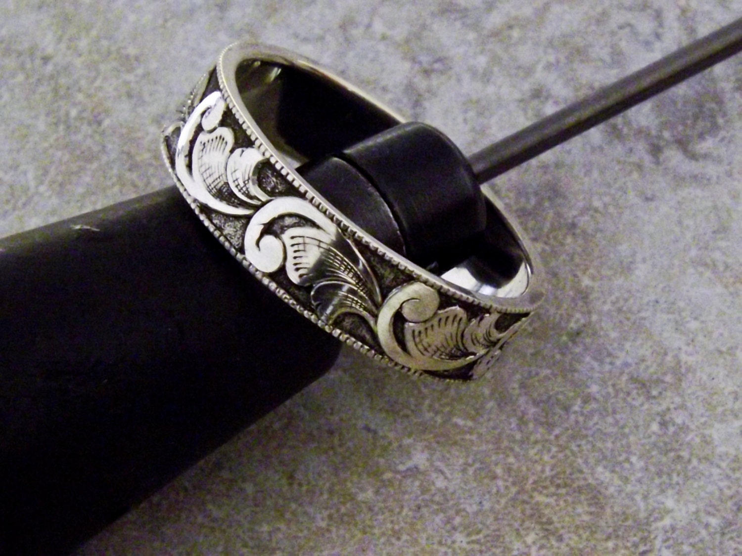 hand engraved sterling silver ring. Black Bedroom Furniture Sets. Home Design Ideas