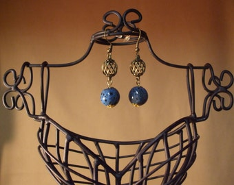 Blue and Black Ceramic Dangle Earrings