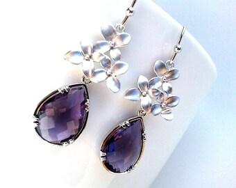 Purple Earrings, flower earrings, Amethyst earrings - bridesmaid gifts,Wedding jewelry,flower girl,Chandelier