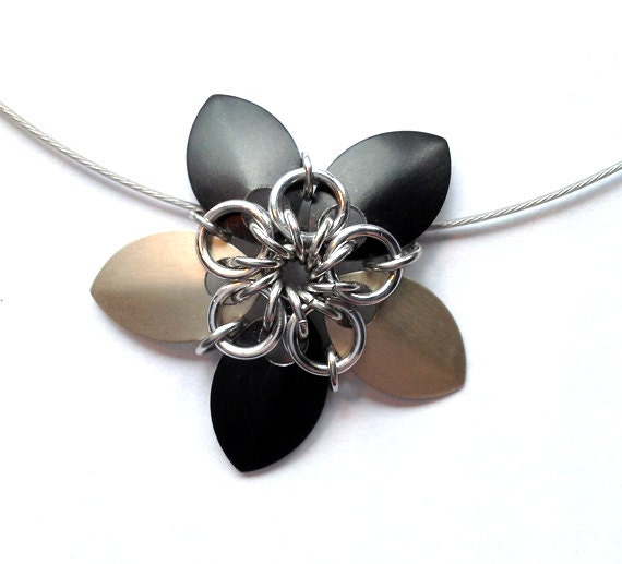 Black and Caramel Chainmaille Flower Necklace