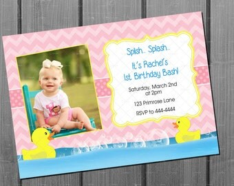 Pink Rubber Duck Girl Birthday Party Invitation and FREE Thank You Card Printable DIY