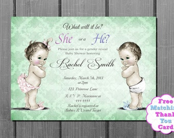 Gender Neutral Gender Reveal  Boy or Girl He or She Green Damask Baby Shower Invitation and FREE Thank You