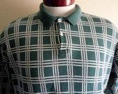 vintage 90's Polo Ralph Lauren dark hunter green window pane check polo shirt men women unisex lattice pattern purple pony embroidered logo